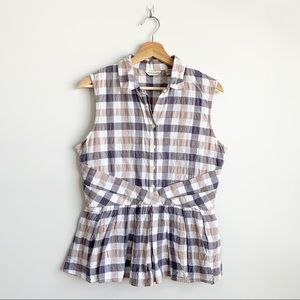 Anthropologie 11.1.TYLHO Checkered Plaid Blouse L